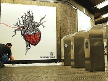 Donazioni di sangue. Atac lo chiede con la street art a firma dell'artista Ironmould